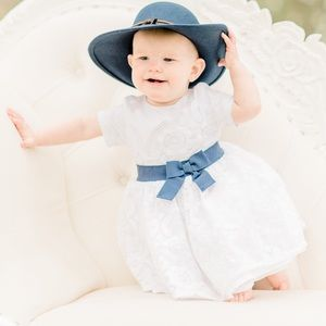 Carters white Dress Navy Bow 12 month